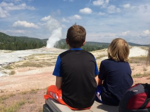 Watching the geyser erupt